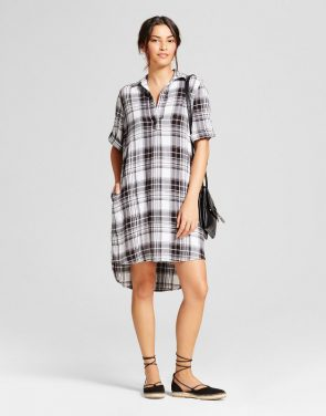 photo Plaid Shirt Dress by Spenser Jeremy, color Black/White - Image 1