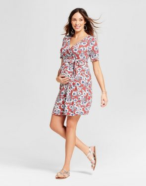 photo Maternity Floral Printed Elbow Sleeve Surplice Dress by MaCherie Maternity, color Red - Image 1
