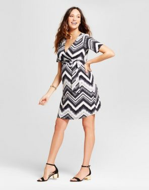 photo Maternity Chevron Printed Elbow Sleeve Surplice Dress by MaCherie Maternity, color Multi - Image 1