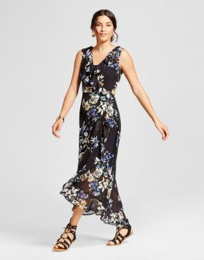 photo Floral Printed Faux Wrap Ruffle Maxi Dress by Spenser Jeremy, color Multi - Image 1
