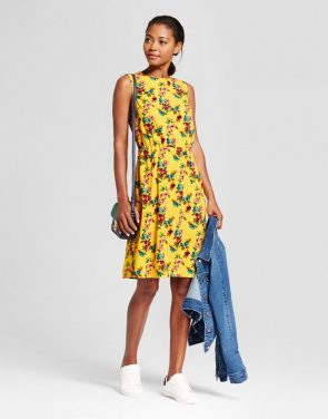 photo Floral Crepe Tank Dress by A New Day, color Yellow - Image 1