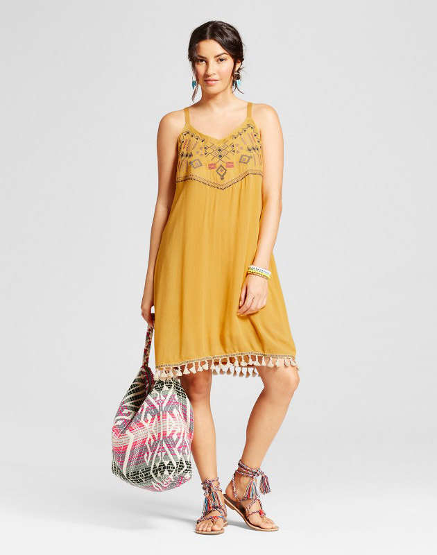 photo Embroidered Tank Dress with Pom Pom Hem by Spenser Jeremy, color Brown - Image 1