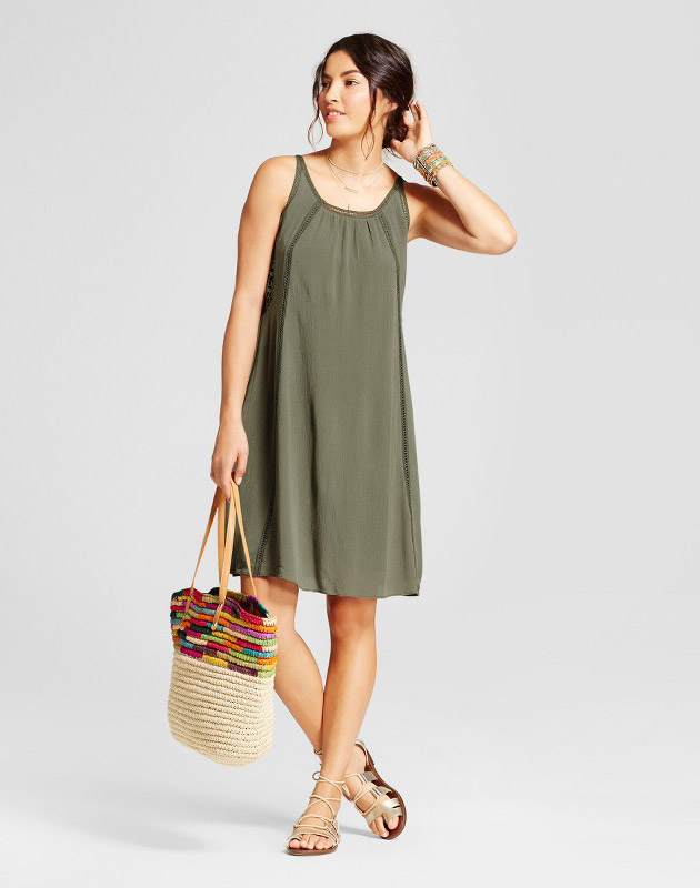 photo Trapeze Tank Dress with Lace Insets by Spenser Jeremy, color Sage Green - Image 1