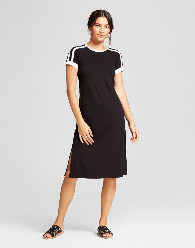 photo Short Sleeve Athletic Stripe Knit Dress by Loramendi, color Black/White - Image 1