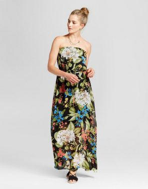 photo Sleeveless Tropical Maxi Dress by Loramendi, color Black Floral - Image 1