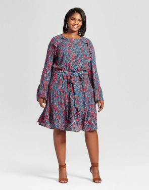 photo Plus Size Ruffle Easy Waist Mini Floral Dress by Ava & Viv, color Deep Teal - Image 1