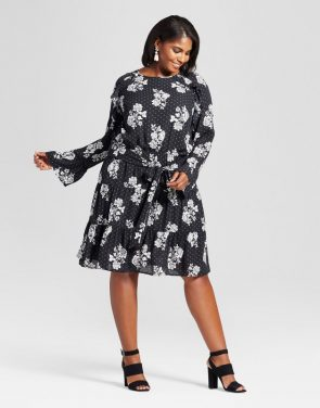 photo Plus Size Ruffle Easy Waist Floral Dress by Ava & Viv, color Black - Image 1