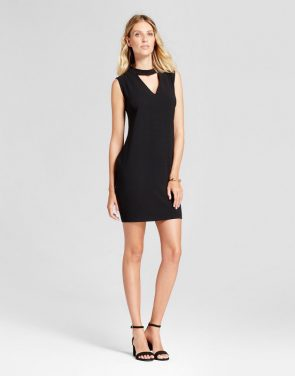 photo Woven V-Neck Dress with Choker Neck by Loramendi, color Black - Image 1
