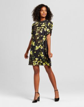 photo Drapey Doll Dress by Who What Wear, color Black Floral - Image 1