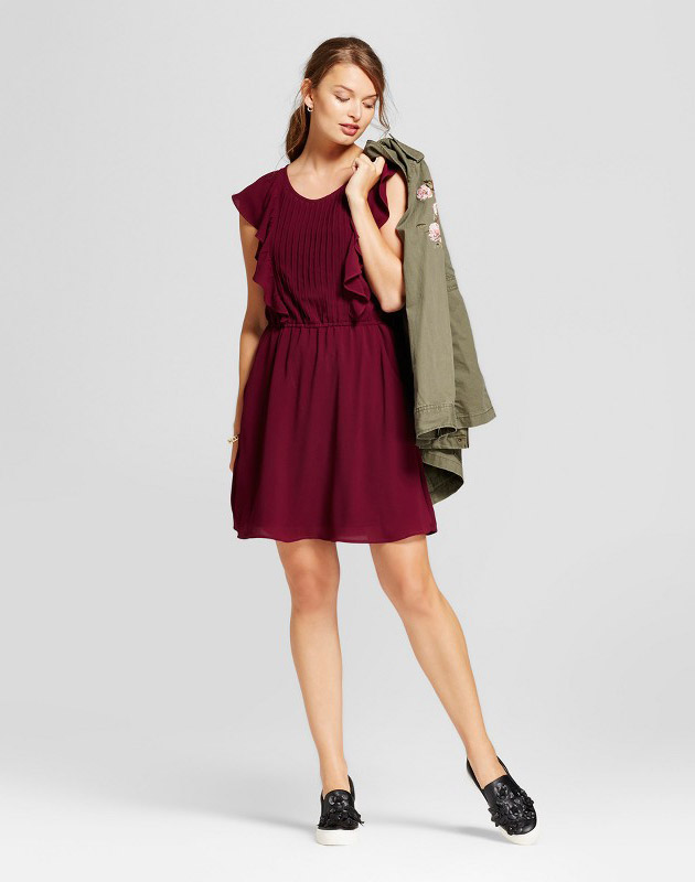 photo Flutter Sleeve Crepe Dress by A New Day, color Cherry - Image 1