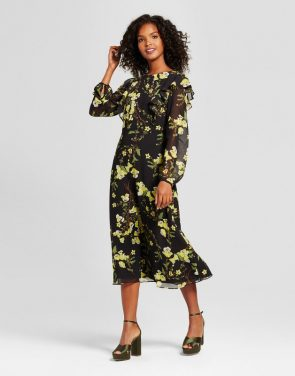 photo Flutter Shoulder Dress- Who What Wear, color Black Green Floral - Image 1