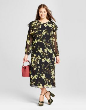 photo Plus Size Flutter Shoulder Dress by Who What Wear, color Black Floral - Image 1