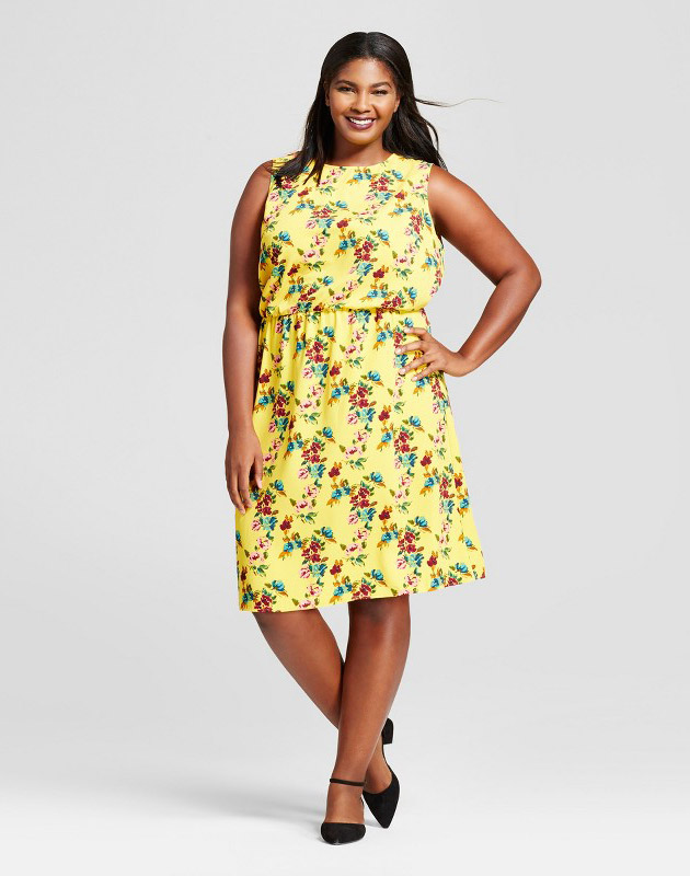 photo Plus Size Floral Crepe Tank Dress by A New Day, color Yellow - Image 1