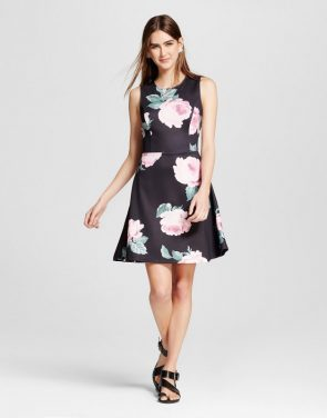photo Floral Scuba Fit & Flare Dress by Alison Andrews, color Multi - Image 1