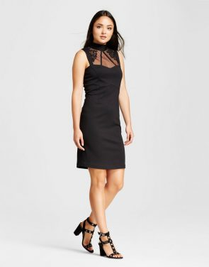 photo Sleeveless Lace Cutaway Midi Dress by Alison Andrews, color Black - Image 1