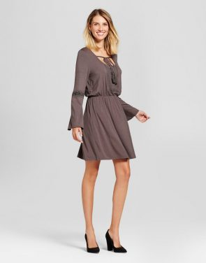 photo Embroidered Cinch Waist Knit Dress by Knox Rose, color Grey - Image 1