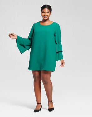 photo Plus Size Bell Sleeve Dress by A New Day, color Green - Image 1