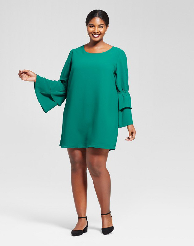 Plus Size Bell Sleeve Dress by A New Day - Green