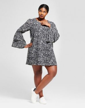 photo Plus Size Printed Bell Sleeve Dress by A New Day, color Black - Image 1