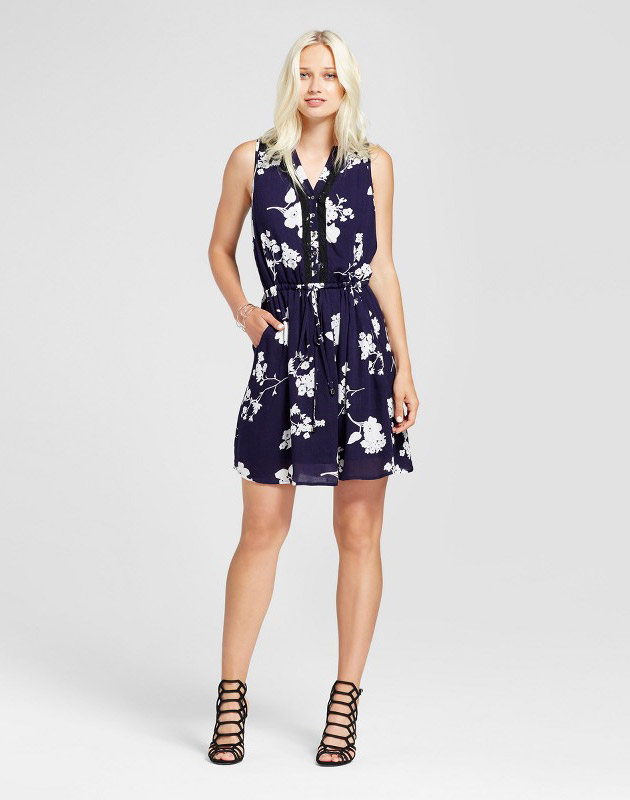 photo Sleeveless Floral Lace Dress by Layered with Love, color Navy/White - Image 1