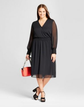 photo Plus Size Smocked Waist Dress by Who What Wear, color Black - Image 1