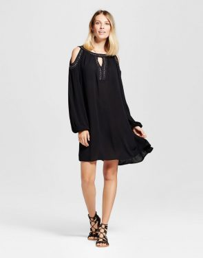 photo Embellished Cold Shoulder Dress by Knox Rose, color Black - Image 1