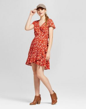 photo Short Sleeve Woven Wrap Dress by Mossimo Supply Co., color Rust - Image 1