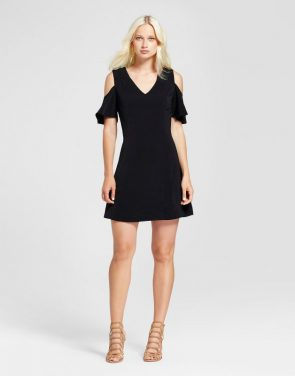 photo V-Neck Cold Shoulder Dress by Layered with Love, color Black - Image 1