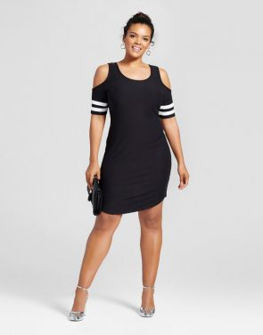 photo Plus Size Scoop Neck Cold Shoulder Dress by No Comment, color Black - Image 1