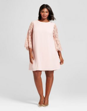 photo Plus Size Lace Sleeve Dress by A New Day, color Smoked Pink - Image 1