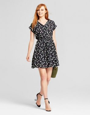 photo Printed V-Neck Dress by Layered with Love, color Black Green White - Image 1
