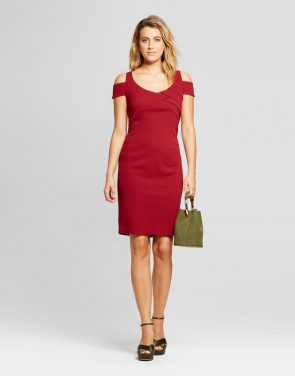 photo Cold Shoulder Scuba Crepe Dress by Spenser Jeremy, color Wine Red - Image 1