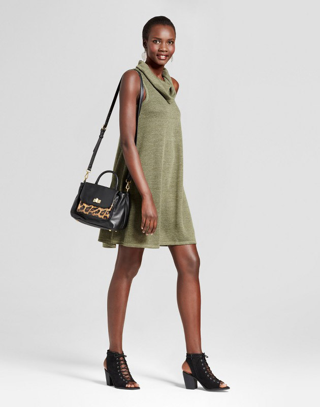 photo Cowl Neck Knit Tank Dress by Spenser Jeremy, color Green - Image 1