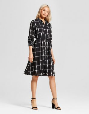 photo Ruffle Hem Shirt Dress by Who What Wear, color Black Plaid - Image 1