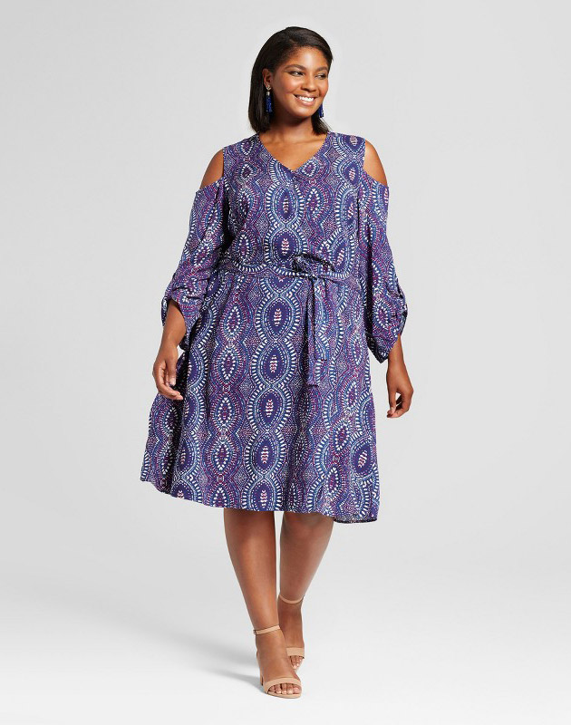 photo Plus Size Cold Shoulder Wrap Dress by U-knit, color Blue - Image 1