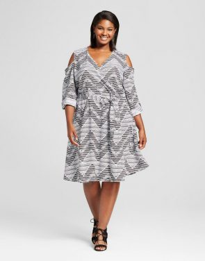 photo Plus Size Chevron Cold Shoulder Wrap Dress by U-knit, color Black - Image 1