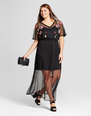 photo Plus Size Mesh Embroidered Dress by Xhilaration, color Black - Image 1