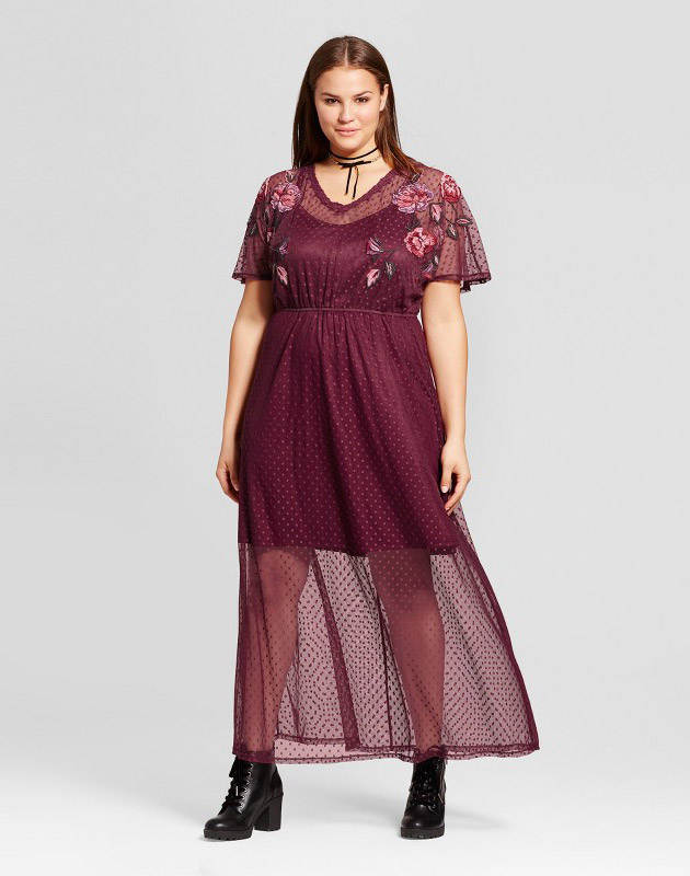 photo Plus Size Mesh Embroidered Dress by Xhilaration, color Red - Image 1