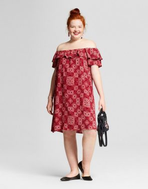 photo Plus Size Printed Off the Shoulder Dress by Xhilaration, color Red Geo Print - Image 1