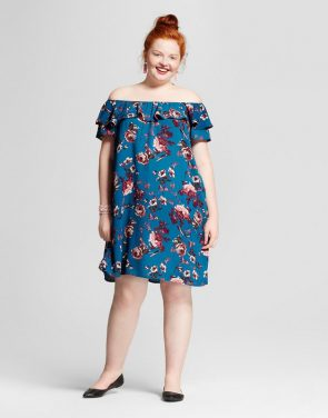 photo Plus Size Printed Off the Shoulder Dress by Xhilaration, color Blue Floral Print - Image 1