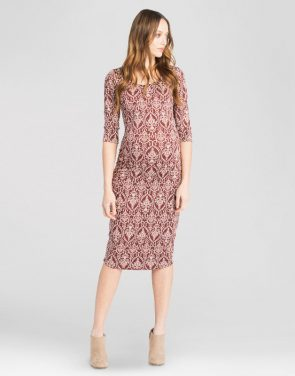 photo Maternity Ruched Floral Bodycon Dress by Expected by Lilac, color Burgundy red - Image 1