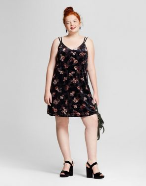 photo Plus Size Velvet Dress by Xhilaration, color Black Floral Print - Image 1