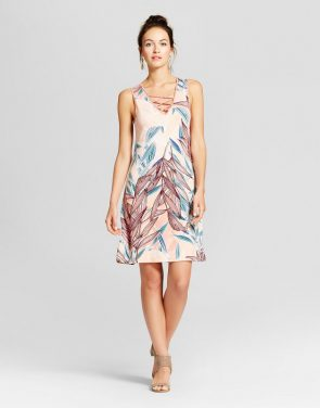 photo Double V-Neck Tank Dress with Lattice Detail by Spenser Jeremy, color Blush Combo - Image 1