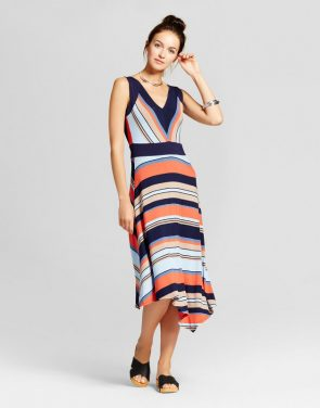 photo Striped Asymmetrical Tank Dress by Spenser Jeremy, color Navy Orange - Image 1