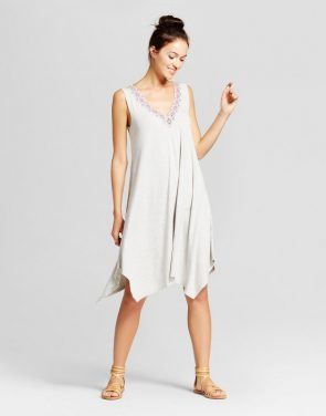photo Embroidered Shark Bite Tank Dress with Lattice Back by Spenser Jeremy, color Grey Combo - Image 1
