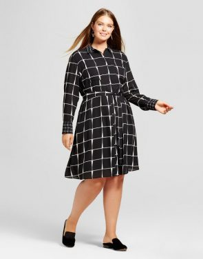 photo Plus Size Shirtdress by Who What Wear, color Black Plaid - Image 1
