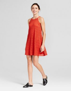 photo Lace Trapeze Tank Dress by Lux II, color Rust Red - Image 1