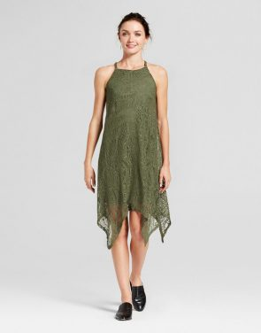 photo Shark Bite Hem Lace Tank Dress by Lux II, color Olive Green - Image 1