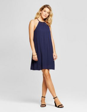photo Halter Neck Tank Dress with Necklace Bar by Lux II, color Navy - Image 1