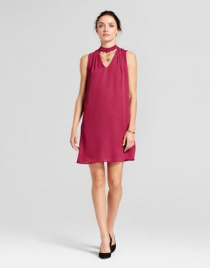 photo Choker Neck Trapeze Dress with Necklace Detail by Lux II, color Berry Red - Image 1